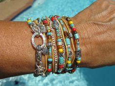 Boho Endless Leather Wrap Bracelet  Desert Cactus by fleurdesignz, $38.00