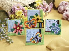 Coasters - Indulge your love for plastic canvas with these eight pretty coaster sets -- from succulent strawberries, vibrant sunflowers, and elegant birdhouses to cute kitties, cuddly puppies, and bright butterflies. Decorate your home and protect your tables with designs for every style, or create the coaster and holder sets as handmade gifts for friends and family! All pieces are worked on 7-mesh plastic canvas using a size 16 tapestry needle and worsted weight yarn. Floss details use 4…