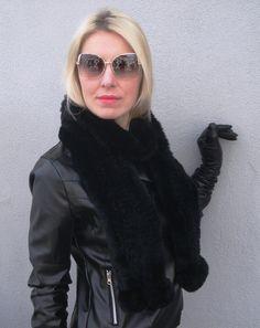 Real Rex Rabbit Fur Knitted Collar Elegant Black by GataJewelry