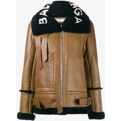 BALENCIAGA The Bombardier Shearling Bomber Jacket ($3,180) ❤ liked on Polyvore featuring outerwear, jackets, shearling flight jacket, brown bomber jacket, patch jacket, oversized shearling jacket and bomber style jacket