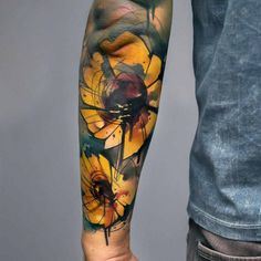 Sunflowers tattoo by uncl paul knows best tattoos милые тату Watercolor Sunflower Tattoo, Sunflower Tattoo Simple, Sunflower Tattoo Shoulder, Watercolor Flower, Sunflower Tattoos, Sunflower Tattoo Design, Watercolor Tattoo, Tattoo Video, 4 Tattoo