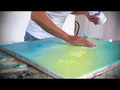 Démonstration de peinture abstraite (1) - Abstract acrylic painting - fond en acrylique - YouTube