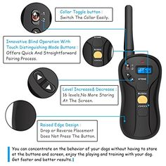 FOCUSPET Remote Dog Training Collar, Electric Dog Training Shock Collar with Remote 655 yd Rechargeable and Waterproof 16 Levels Tone,Vibration & Shock for Small Medium & Large Dogs Pet Trainer, Dog Shock Collar, Puppy Training Tips, Training Collar, Edge Design, Bars For Home, Large Dogs, Pet Supplies, Behavior