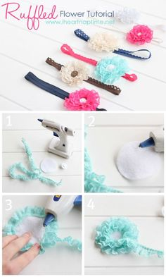 Make these gorgeous ruffled lace flowers for less than a buck! Find the tutorial on iheartnaptime.net #crafts #babystuffdiy