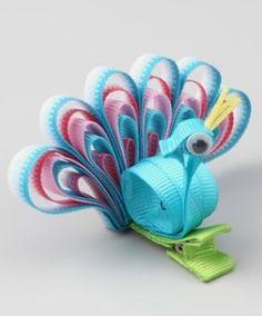 Peacock Hair Clip (sorry, no link), Handmade Gifts for Kids Ribbon Hair Clips, Ribbon Art, Diy Hair Bows, Diy Ribbon, Ribbon Crafts, Ribbon Bows, Ribbons, Blue Ribbon, Grosgrain Ribbon