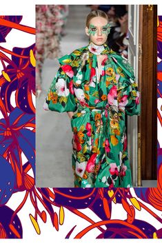 Strange scattered blooms, soaring illustrative beanstalks and folky graphic motifs bring a modern edge to this Spring/Summer 2021 Print trend Pantone, Fashion 2020, Fashion Trends, Daily Fashion, New Romantics, Modern Art Deco, Summer Fashion Outfits, Winter Outfits, Kimono Fashion