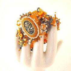 Yellow bracelet Yellow grey cuff Beaded jewelry Seed bead by ibics