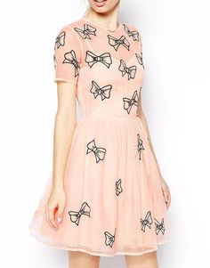 ASOS | ASOS Skater Dress With Bow Embroidery at ASOS