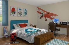 Awesome Airplane Themed Interior Bedroom Decor. The Left Seat West loves aviation decor! Visit the Left Seat West Restaurant, Glendale, Arizona: http://www.facebook.com/pages/Left-Seat-West-Restaurant/192309664138462
