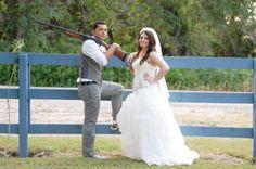 outdoor country wedding, guns