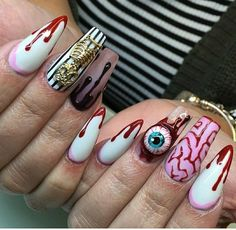 Are you looking for easy Halloween nail art designs for October for Halloween party? See our collection full of easy Halloween nail art designs ideas and get inspired! Halloween Nail Designs, Halloween Acrylic Nails, Dope Nails, My Nails, Scary Nails, Acrylic Nail Designs, Nail Art Designs, Nails Design, Nagel Gel