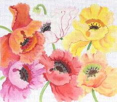 Sunny Poppies needlepoint canvas by Julie Mar Designs - 12in x 16in, 13 mesh