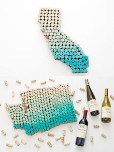 Make State-Shaped Wall Art Using Old Wine Corks State Wall Art WIne Cork Crafts DIY projects. Diy Craft Projects, Wine Cork Projects, Diy Home Crafts, Easy Diy Crafts, Creative Crafts, Diy Crafts For Bedroom, Art Crafts, Spring Crafts, Christmas Crafts