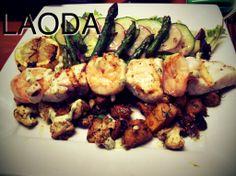 Grilled lemons, swordfish, prawns, roasted vegs and asparagus salad.  Lemon aioli.