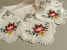 Vintage tablecloth. Handmade cross stitch, crochet edging and insertion lace. Square, scallops, flowers. Cottage home decor.