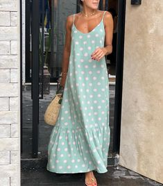 Chill Outfits, Summer Outfits, Summer Dresses, Weekend Outfit, Mix Match, Simple Dresses, Well Dressed, Polka Dot, Female