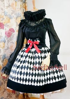 Surface spell gothic Lolita Custom Shop * virtual image of the division * Argyle Road Fishbone SK-waisted skirt Taobao