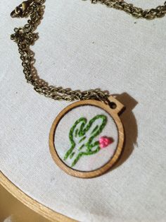 Cactus Necklace  Mini Embroidery Hoop Necklace by CallHerHappy @ajob1025
