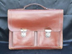 Leather Satchel // Mans leather satchel // by VintageRetroOddities