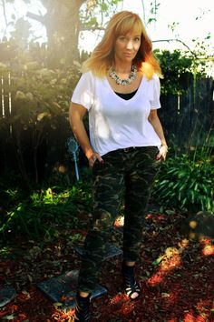 FFD style blog: camo pants, white t-shirt, peep toe booties, statement necklace