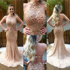 Mermaid Halter Neckline Sexy Open Back Champagne Prom Dress