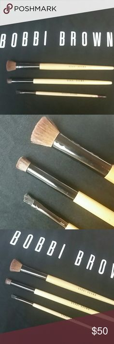 JUST IN! Bobbi Brown Eye Shader, Contour,&Brow Bobbi Brown Shader, Contour, &Brow Brushes. I have been a Makeup Artist for over 20 yrs. These have been in my case for a while. I take very good care of my brushes. Thoroughly cleaned with antibacterial brush cleaner.Just take care of these brushes they last you for years! They are hand-tied and professional-grade brushes. Wooden handles. 3 Brushes. Shader is great for spot powder & shadow blending too! Given to me when I was Manager. Labeled…