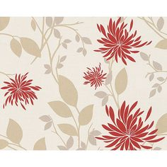 Floral Modern Nature Wallpaper in Cream and Red design by BD Wall ($50) ❤ liked on Polyvore featuring home, home decor, wallpaper, wallpaper samples, modern home accessories, beige wallpaper, modern floral wallpaper, floral home decor and flowered wallpaper
