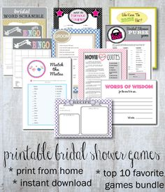 Top 10 Popular Bridal Shower Games In One Big Bundle For You Print Them Right From Your Own Computer Bonus