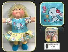 """Handcrafted Doll Clothes to fit Cabbage Patch Kids ....... Fits  16""""  ....... Dress Outfit (Easter) made from a cute Easter-themed border fabric used in the skirt ... for girl  ....    ....... with """"BUNNY Butterfly and Flowers"""" Machine Embroidery Design ................ my outfits can be found on EBAY and ETSY under the shop name:  hudson77ma  ................ FACEBOOK page:  Originals for Kids by Sue AKA hudson77ma #kidoutfits"""