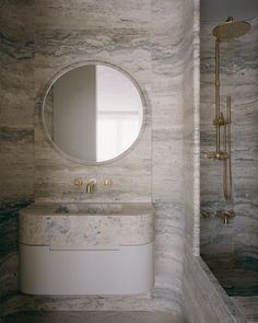 """Gabriel Chipperfield on Instagram: """"Small bathrooms in a recently completed apartment project in Chelsea, London."""" Neutral Bathroom, Bathroom Inspo, Bathroom Inspiration, Modern Bathroom, Design Inspiration, Apartment Projects, Apartment Interior, Travertine Bathroom, Vanity Design"""