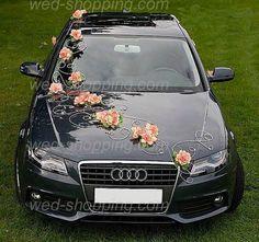 Black audi.. Wedding car decor with flowers.. So cute