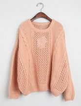 Pink Long Sleeve Hollow Loose Pullovers Sweater $58.96