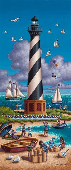 Dowdle Folk Art. Cape #Hatteras #Lighthouse Print http://www.dowdlefolkart.com/products/294-cape-hatteras-lighthouse-print.aspx