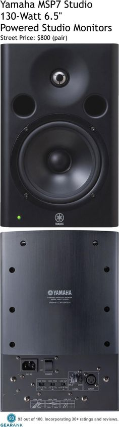 """Yamaha MSP7 Studio.  These are among the highest rated powered studio monitors available. Features: - 6.5"""" LF driver 1"""" Titanium HF tweeter - Bi Amplification: LF - 80W / HF - 50W - Inputs: XLR - Frequency response: 45Hz-40kHz - Dimensions: 9.2"""" x 8.6"""" x 13"""".  For a detailed guide to Studio Monitors Under $1000 see https://www.gearank.com/guides/best-studio-monitors"""