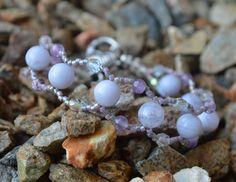 Blue lace Agate and Amethyst woven healing bracelet by CrystalMeB