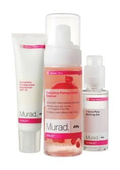 Vitalic Regimen - 90 Day Supply: Energizing Pomegranate Cleanser, T-zone Pore Refining Gel, Energizing Pomegranate Moisturizer SPF 15 by Murad. $191.00. Energizing Pomegranate Cleanser, T-Zone Pore Refining Gel,. Evens oily and dry zones Clears clogged pores. Vitalic Regimen - 90 Day Supply. Keeps combination skin in perfect, beautiful balance. Energizing Pomegranate Moisturizer SPF 15. Daily maintenance and protection keeps normal/combination skin strong, healthy a...