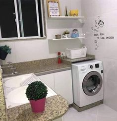 Laundry Decor, Laundry Room Storage, Laundry Room Design, Laundry In Bathroom, Built In Storage, Stacked Washer Dryer, Decoration, Washing Machine, Sweet Home