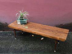 vintage mid century modern slat bench. mcm coffee table. retro furniture. | ReRunRoom |