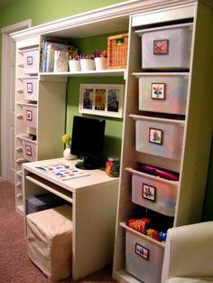 Ikea unit + Storage bins around a small desk. Great for the boys in near future.
