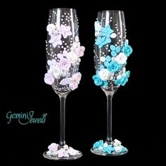 Wedding flutes, decorati a mano con fimo e perle, by Gemini Jewels, 49,00 € su misshobby.com