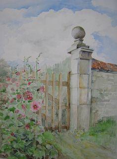 Chateau Coligny, Fr. Vervallen poort. Aquarel, 30x40 cm. Tineke Hiem.