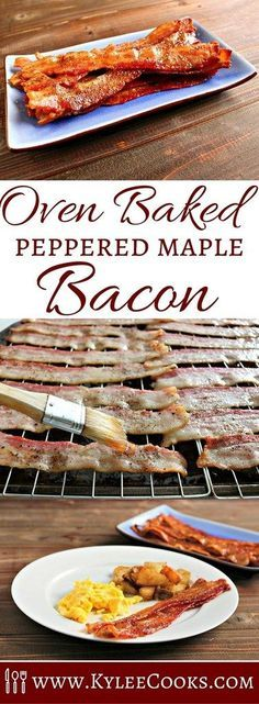 Salty and sweet – my favorite combination! This oven baked bacon is my new favorite thing. Simply put the slices in the oven and get on with making the rest of your breakfast items!