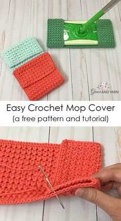 Crochet For Beginners Easy Crochet Mop Cover - A free pattern and tutorial from Grace and Yarn Crochet Kitchen, Crochet Home, Crochet Yarn, Easy Crochet, Tutorial Crochet, Crochet Ideas, Crochet Patterns For Beginners, Knitting Patterns Free, Free Pattern