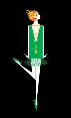Flapper illustration art print - redhead motif art deco, art deco d Art Deco Mode, Moda Art Deco, Art Deco Illustration, Illustration Styles, Pinturas Art Deco, Art Deco Paintings, Art Deco Artwork, Vintage Paintings, Art Deco Stil
