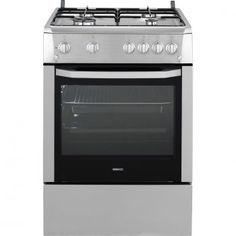 Aragaz Beko CSG 62110 DX, 4 Arzatoare, Aprindere electrica, Grill, Rotisor, Timer, Inox