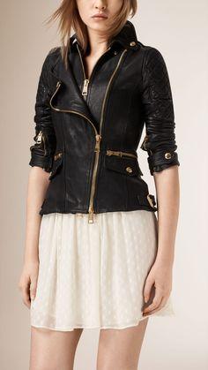 Diamond Quilt Detail Leather Biker Jacket | Burberry