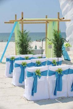 Big Day Weddings, Beach Weddings, Chair Sash Ocean Blue and Lime Color Scheme, Ocean Blue and Lime Wedding Theme