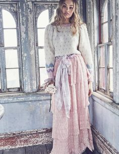 Rosie Cropped Sweater with Harriet Lace Skirt by LoveShackFancy Fall Winter 2018 Fashion Mode, Modest Fashion, Boho Fashion, Fashion Outfits, Womens Fashion, Fashion Design, Pink Lace Skirt, Hippie Style Clothing, Moda Boho