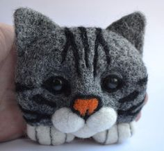 CAT Handmade Brooch Gray Sculpture Artist Neede Felted Wool Stuffed 4in #Unbranded