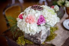 Shabby Chic Wedding Floral, Hdrangea, Carnations, Roses, Moss, Birch Wood Boxes Blue Suede Events Photo Gallery Photo by @exposetheheart